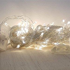 Cordão de LED Luz Amarela com Fio Incolor 100 Leds 5m 220V - 1unidade - Cromus Natal - Rizzo