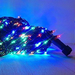 Cordão de LED Luz Colorida com Fio Verde 100 Leds 5m 127V - 1unidade - Cromus Natal - Rizzo