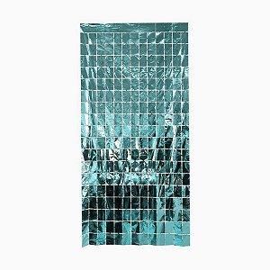 Cortina Decorativa Painel Mágico 1x2m - Retângulos - Azul Claro - Art Lille - Rizzo