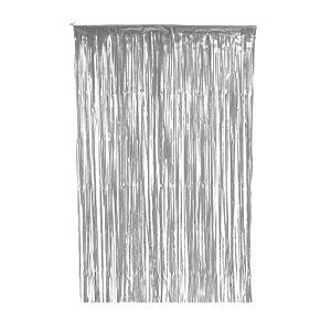 Cortina Decorativa Painel Mágico - 1x2m - Franjas - Prata - Art Lille - Rizzo