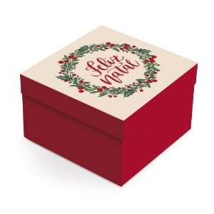 Caixa para Presente Quadrada - Feliz Natal - 01 unidade - Cromus Natal - Rizzo