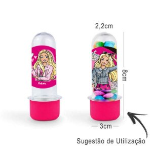 Mini Tubete Lembrancinha Festa Barbie 8cm 20 Unidades - Rosa Pink - Rizzo Embalagens