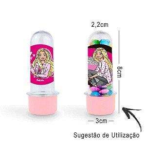 Mini Tubete Lembrancinha Festa Barbie 8cm 20 Unidades - Rosa Claro - Rizzo Embalagens