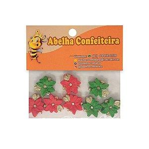 Mini Confeito Flor Natalina - 8 UN - Abelha Confeiteira - Rizzo