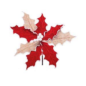 Enfeite de Natal Poinsétia Vermelho e Marrom 01 Unidade Cromus Rizzo Embalagens