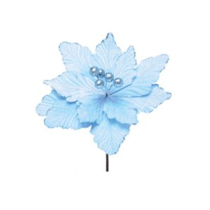 Enfeite de Natal Poinsétia Azul Claro 01 Unidade Cromus Rizzo Embalagens