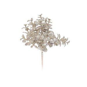 Enfeite de Natal Pick Folhas Glitter 30x16x16cm Nude - 1 UN - Cromus - Rizzo Embalagens