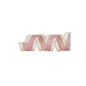 Fita Decorativa Natal Tela Glitter - Rosa - 6,3x914cm- 1 UN - Cromus - Rizzo