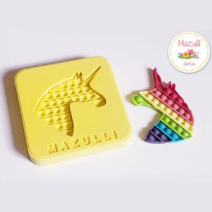 Molde de Silicone 2339 Festa Pop It Fidget Toy Unicórnio - 01 Unidade - Mazulli - Rizzo Embalagens