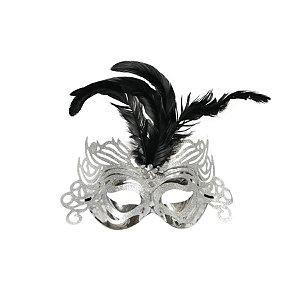 Fantasia Acessório Mascara Primor Prata Festa Carnaval 01 Unidade Cromus Rizzo Embalagens