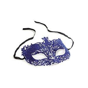 Fantasia Acessório Mascara Elegância Azul Festa Carnaval 01 Unidade Cromus Rizzo Embalagens