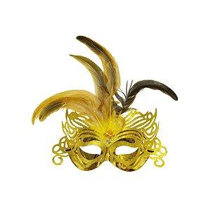 Fantasia Acessório Mascara Primor Dourada Festa Carnaval 01 Unidade Cromus Rizzo Embalagens