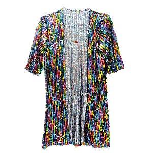 Fantasia Kimono Paete Lantejoulas Coloridas Festa Carnaval 01 Unidade Cromus Rizzo Embalagens