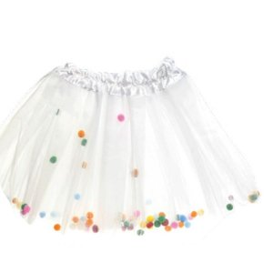 Fantasia Saia de Tule Branca Infantil Festa Carnaval 01 Unidade Cromus Rizzo Embalagens