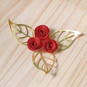 Decoração para Bolo em Papel - Folha e Flor P - Dourado/Vermelho - 03 unidades – MaxiFormas - Rizzo Embalagens