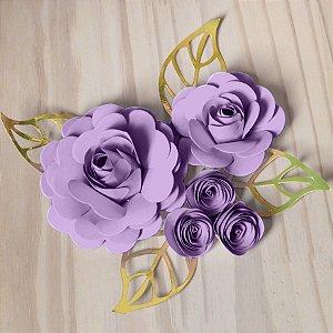 Decoração para Bolo em Papel - Folha e Flor G - Dourado/Lilás - 01 unidade – MaxiFormas - Rizzo Embalagens