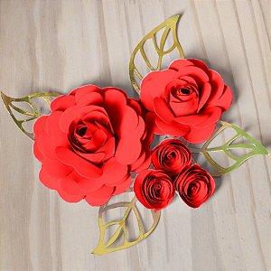 Decoração para Bolo em Papel - Folha e Flor M - Dourado/Vermelho - 01 unidade – MaxiFormas - Rizzo Embalagens