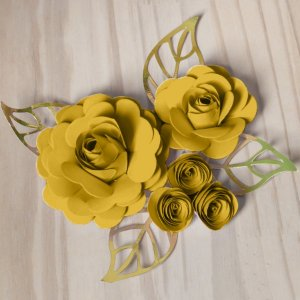 Decoração para Bolo em Papel - Folha e Flor M - Dourado/Amarelo - 01 unidade – MaxiFormas - Rizzo Embalagens