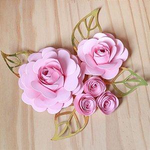 Decoração para Bolo em Papel - Folha e Flor M - Dourado/Rosa - 01 unidade – MaxiFormas - Rizzo Embalagens Embalagens