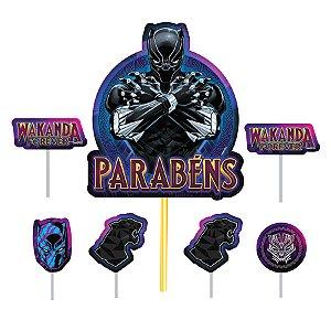 Topo de Bolo Pantera Negra - 7 PÇs - 1 UN - Piffer - Rizzo