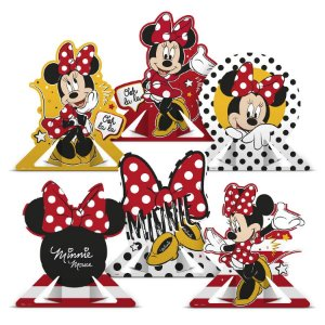 Decoração de Mesa Festa Minnie Mouse 06 Unidades Regina Rizzo Embalagens