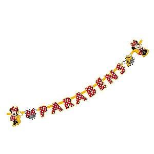 Faixa Parabéns Festa Minnie Mouse 01 Unidade Regina Rizzo Embalagens