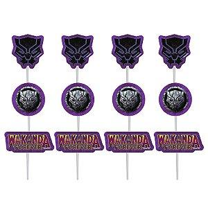 Palitos Decorativos P/ Doces Pantera Negra - 12 PÇs - 1 UN - Piffer - Rizzo