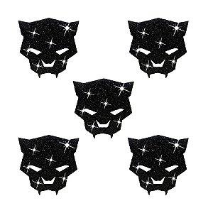 Aplique Decorativo Glitter Pantera Negra - 5 PÇs - 1 UN - Piffer - Rizzo