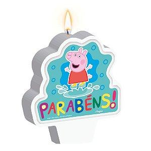 Vela Plana Adesivada Festa Peppa Pig Clássica 01 Unidade Regina Rizzo Embalagens