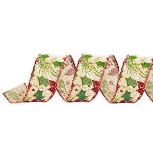 Fita Decorativa Natal Azevinho 3,8cmx9,14 - 1 Unidade - Cromus - Rizzo Embalagens