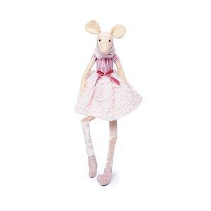 Rata Decorativa Sentada com Saia Rosa 02 - 1 Unidade - Cromus - Rizzo Embalagens