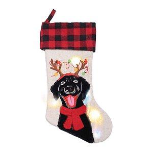 Bota com LED Cão Rena Preto e Vermelho 50cm x 27cm 01 unidade Cromus Rizzo Embalagens