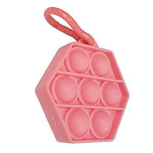 Chaveiro Lembrancinha Festa Pop It Sextavado Rosa 01 Unidade Rizzo Embalagens
