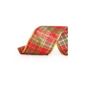 Fita Aramada Xadrez Vermelho e Verde c/ borda dourada - 3,8cm x 914cm - 01 unidade - Cromus Natal - Rizzo Embalagens