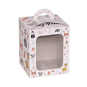 Caixa Panetone com Visor Natal Retro Branca 10 Unidades Decora Doces Rizzo Embalagens