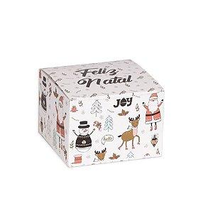 Caixa Quadrada Natal Retro Branca 10 Unidades Decora Doces Rizzo Embalagens