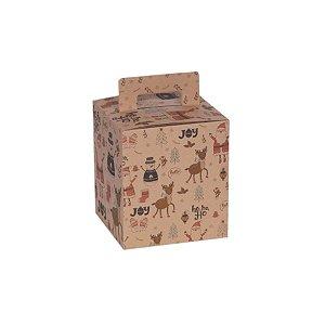 Caixa Panetone Natal Retro Kraft 10 Unidades Decora Doces Rizzo Embalagens