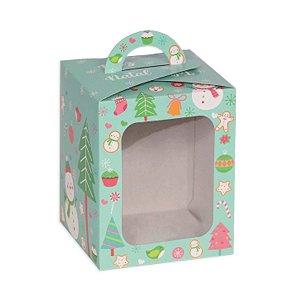 Caixa Panetone com Visor Boneco de Neve Candy 10 Unidades Decora Doces Rizzo Embalagens