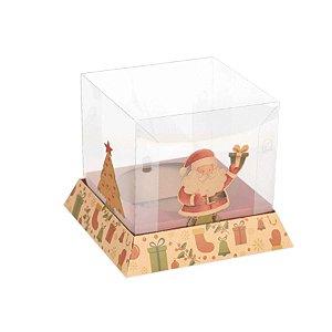 Caixa Panetone Trapézio Kraft Magia de Natal 05 Unidades Decora Doces Rizzo Embalagens