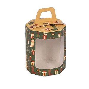 Caixa Panetone Octogonal Meias e Presentes 05 Unidades Decora Doces Rizzo Embalagens