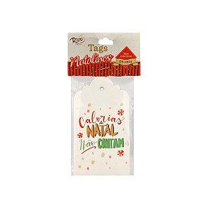 Tag Natalina - Calorias de Natal Não Contam - 6,6x12cm - 5 UN - Rizzo