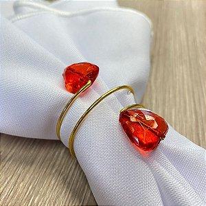 Porta Guardanapo Aramado Arame Dourado com Coração Vermelho 01 Unidade Rizzo Embalagens