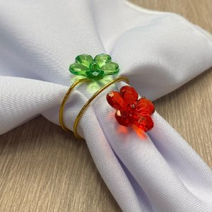 Porta Guardanapo Aramado Arame Dourado com Flor Vermelha e Verde 01 Unidade Rizzo Embalagens