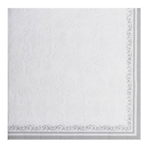 Guardanapo de Papel - Bordas decoradas Prata - 32,5cm x 32,5cm - 20 unidades - Cromus Natal - Rizzo