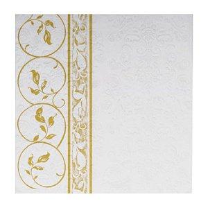Guardanapo de Papel - Decorado Lateral- Folhas douradas - 32,5cm x 32,5cm - 20 unidades - Cromus Natal - Rizzo