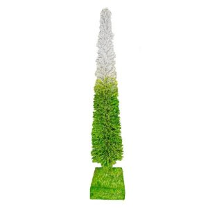 Mini Arvore Pinheiro  Rattan Vine Verde/Branco - 50cm - 01 unidade - Natal Tok da Casa - Rizzo Embalagens