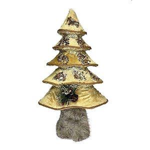 Enfeite Decorativo - Árvore Cute - Dourado/Nude - 32cm - 01 unidade - Natal Tok da Casa - Rizzo Embalagens