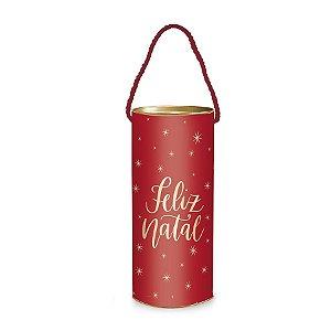 Lata Alça P/ Presente - Feliz Natal - Vermelho - 1 UN - Cromus - Rizzo