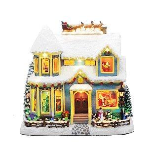 Cenário Casa com Papai Noel e Trenó de Natal 1 Unidade - Cromus - Rizzo Embalagens