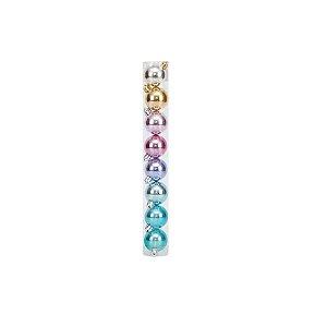 Bolas em Tubo Rainbow Lisa 7cm - 08 unidades - Cromus Natal - Rizzo Embalagens